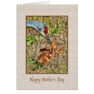 Der Tag der Mutter mit Sandhill Kran-Vögeln Karte