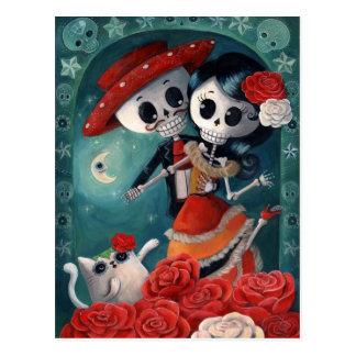 Der Tag der toten Skeleton Liebhaber Postkarte