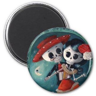 Der Tag der toten Skeleton Liebhaber Runder Magnet 5,7 Cm
