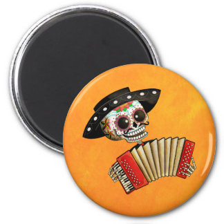 Der Tag des toten Skelett-EL-Mariachis Runder Magnet 5,7 Cm