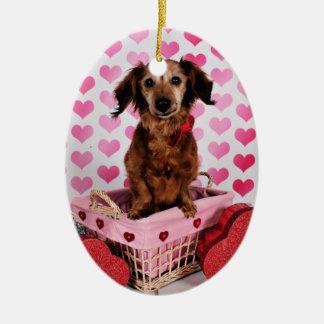 Der Tag des Valentines - Oakley - Dackel Keramik Ornament