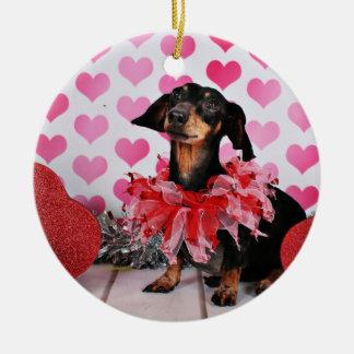 Der Tag des Valentines - Sophia - Dackel Keramik Ornament