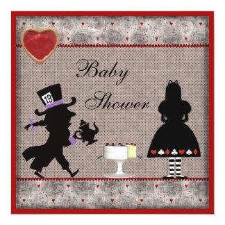 Der Tee-Party-Baby-Dusche des wütenden Hutmachers Quadratische 13,3 Cm Einladungskarte