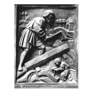 Der Tischler, Detail von einem Altarpiece Postkarte