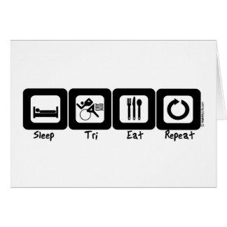 Der Tri Schlaf isst Wiederholung Grußkarte