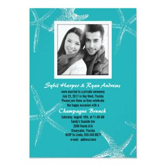 Der Türkisstarfish-Hochzeits-Foto-Empfang laden 12,7 X 17,8 Cm Einladungskarte