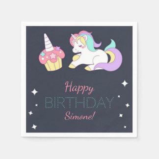 Der Unicorn-Geburtstags-Party-Servietten des Papierservietten
