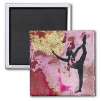 Der ursprüngliche Yoga-Mädchen-Quadrat-Magnet Quadratischer Magnet