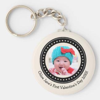 Der Valentine-Foto-Andenken des Babys erstes Schlüsselanhänger