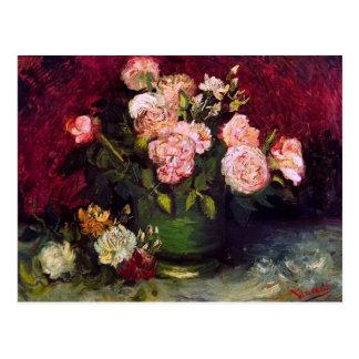 Der Van- Goghschüssel-Pfingstrosen-u. Rosen-(F249) Postkarten