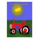 Der Vatertags-Fischerei Pole und Rot-Traktor-Karte