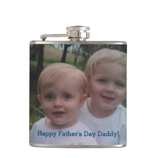 Der Vatertags-Foto-Geschenk-trinkende Flasche Flachmann