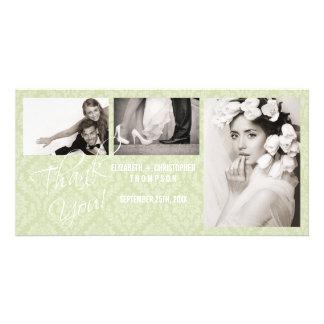 Der Vintage Damast danken Ihnen Hochzeits-Foto-Kar Photo Grußkarte