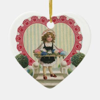 Der Vintage niedliche Tag des Valentines, Mädchen Keramik Ornament