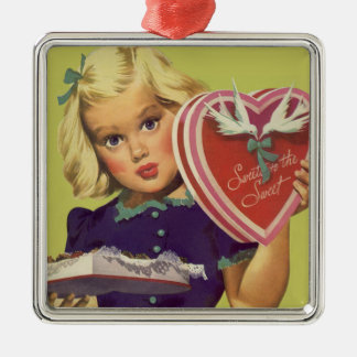 Der Vintage niedliche Tag des Valentines, Mädchen Silbernes Ornament