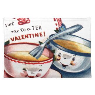 Der Vintage Retro Tag des Valentines Stofftischset