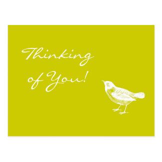 Der Vintage Senf-Gelb-Vogel, der an Sie denkt, Postkarte