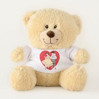 Der Vintage Tag, das Mädchen, der Harlekin und das Teddybär