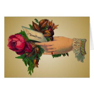 Der Vintage Tag der Mutter mit Rosen-Karte Grußkarte