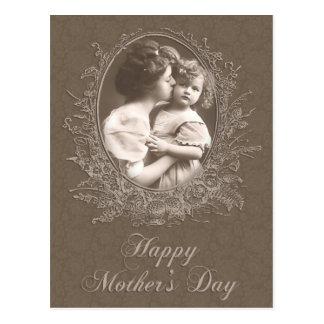 Der Vintage Tag der Mutter-und Kindermutter Postkarte