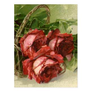 Der Vintage Tag des Valentines, hochrote Rote Postkarte