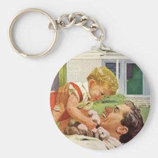 Der Vintage Vatertag, glücklicher Vati und Schlüsselanhänger