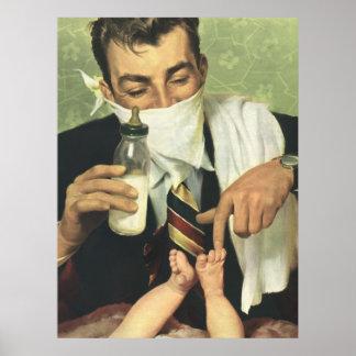 Der Vintage Vatertag, Vati, der Baby eine Flasche Poster
