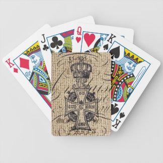 Der Vintagen religiöses Kreuz Kronen-Leinwand des Bicycle Spielkarten