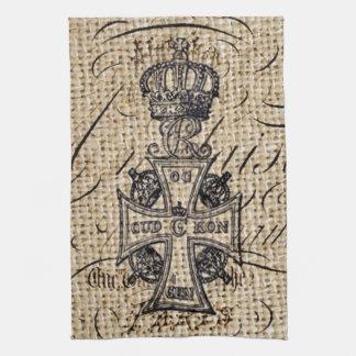Der Vintagen religiöses Kreuz Kronen-Leinwand des Handtuch
