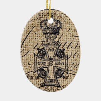 Der Vintagen religiöses Kreuz Kronen-Leinwand des Ovales Keramik Ornament