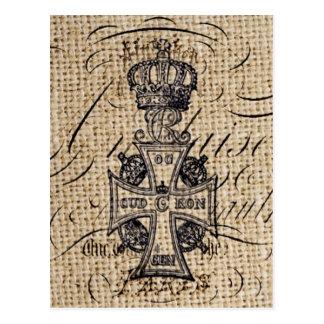 Der Vintagen religiöses Kreuz Kronen-Leinwand des Postkarte