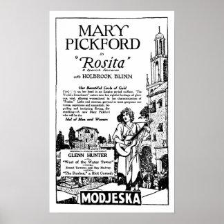 Der Vintagen stille Ära Film-Anzeige Marys Pickfor Plakatdrucke