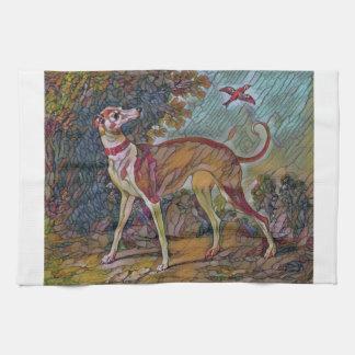 Der Vogelbeobachtung-Windhund Geschirrtuch