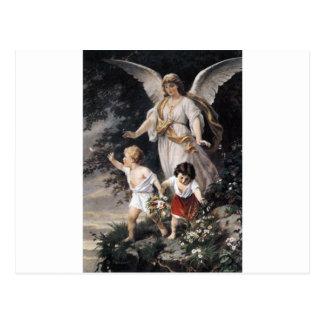 Der Wächter-Engel und die Kinder, Vintage Malerei Postkarten