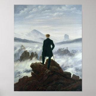 Der Wanderer über dem Meer von Nebel, 1818 Plakate