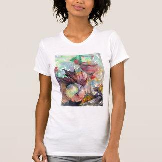 Der Wasserfarbe Wein-Glas-Blatt-Apple-T-Stück T-shirt