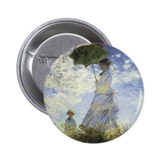 Der Weg, Dame mit einem Sonnenschirm Runder Button 5,7 Cm