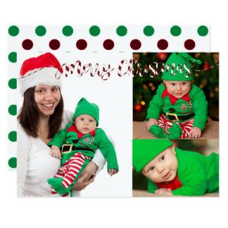 Der Weihnachtspolka-Punkte u. Streifen-3 12,7 X 17,8 Cm Einladungskarte