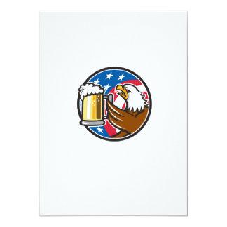 Der Weißkopfseeadler, der Flaggen-Kreis BierStein 11,4 X 15,9 Cm Einladungskarte
