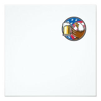 Der Weißkopfseeadler, der Flaggen-Kreis BierStein Quadratische 13,3 Cm Einladungskarte