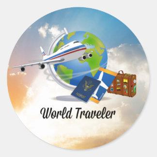 Der Weltreisende, verpackt und bereiten vor, um zu Runder Aufkleber