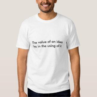 Der Wert einer Idee liegt in der Anwendung von ihm T-Shirts
