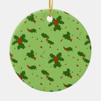 Der Winter: Glückliches Stechpalmen-Tagesmuster Rundes Keramik Ornament
