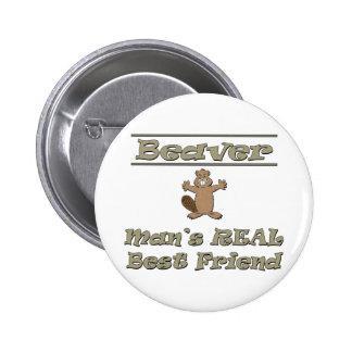 Der wirkliche beste Freund des Biber-Mannes Runder Button 5,1 Cm