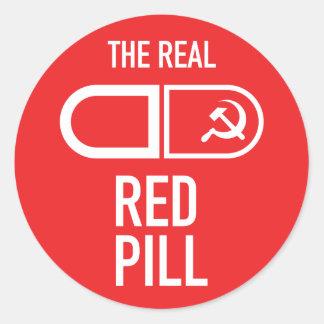 Der wirkliche rote Pillen-Aufkleber Runder Aufkleber