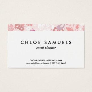 Der wunderliche rosa Girly Blumenvogel-Druck Visitenkarte