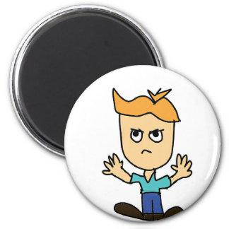 der wütende KinderCartoon Runder Magnet 5,1 Cm
