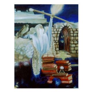 Der Zauberer, der den Nachthimmel mit Power Postkarte
