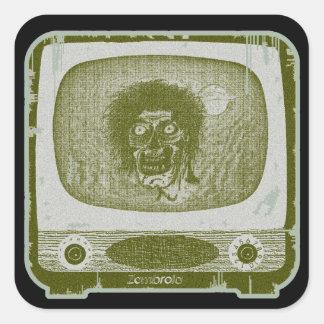 der Zombie! Auf TV~Green Quadratischer Aufkleber