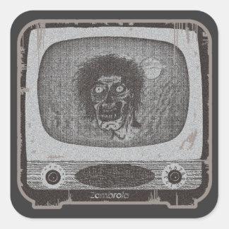 der Zombie! Auf TV~Lite Rot Quadratischer Aufkleber